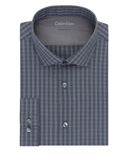 Calvin klein extra slim fit cotton dress shirt in blue for for Calvin klein athletic fit dress shirt