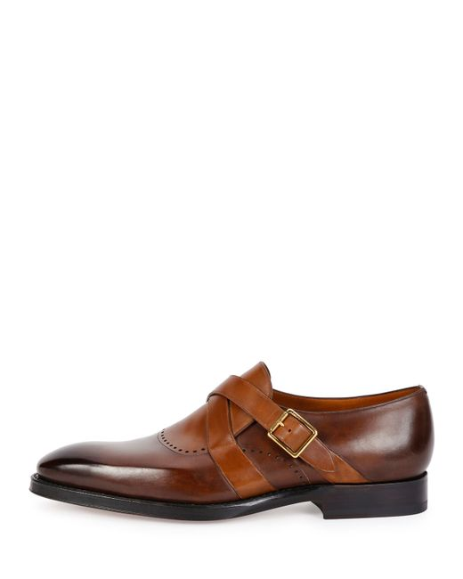 bally schuman leather monk shoe in brown for lyst