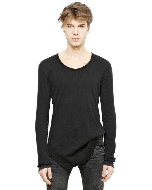 Balmain ribbed long sleeves cotton t shirt in black for for Ribbed long sleeve shirt