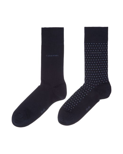 Calvin Klein | Blue 2 Pack Flat Knit Dot Socks for Men | Lyst
