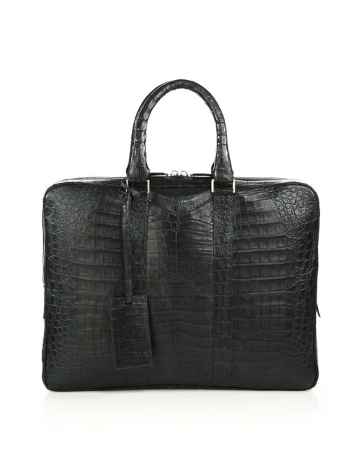 Santiago Gonzalez | Gray Crocodile Slim Briefcase for Men | Lyst