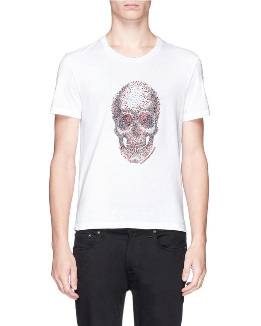 alexander mcqueen embroidered skull t shirt in white for