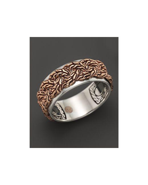 John Hardy | Metallic Men's Classic Chain Bronze & Silver Braided Chain Band Ring for Men | Lyst