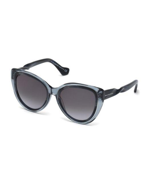 Balenciaga   Blue Twist-temple Cat-eye Sunglasses   Lyst
