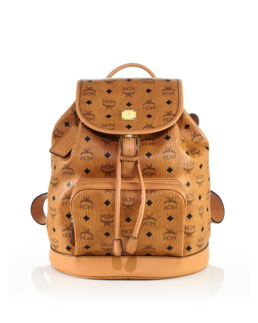 MCM | Brown Heritage Medium Coated-canvas Backpack | Lyst