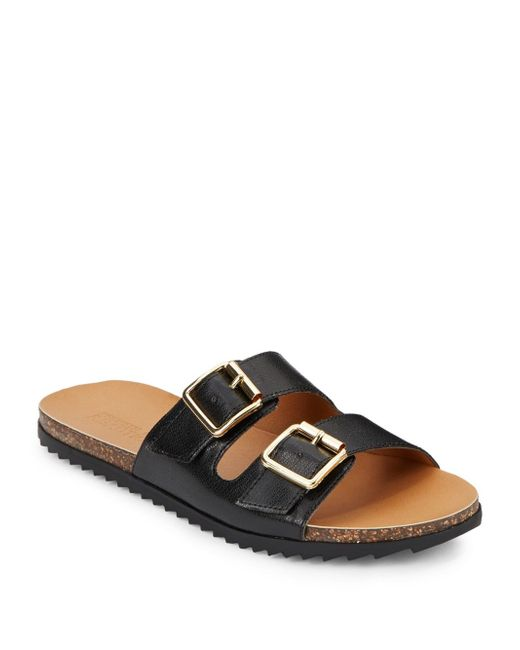 Kenneth Cole Reaction | Black Faux Leather Sandals | Lyst