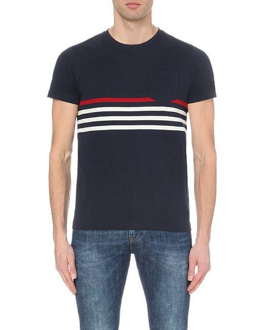 Tommy hilfiger karl striped cotton jersey t shirt in blue for Tommy hilfiger fitzgerald striped shirt