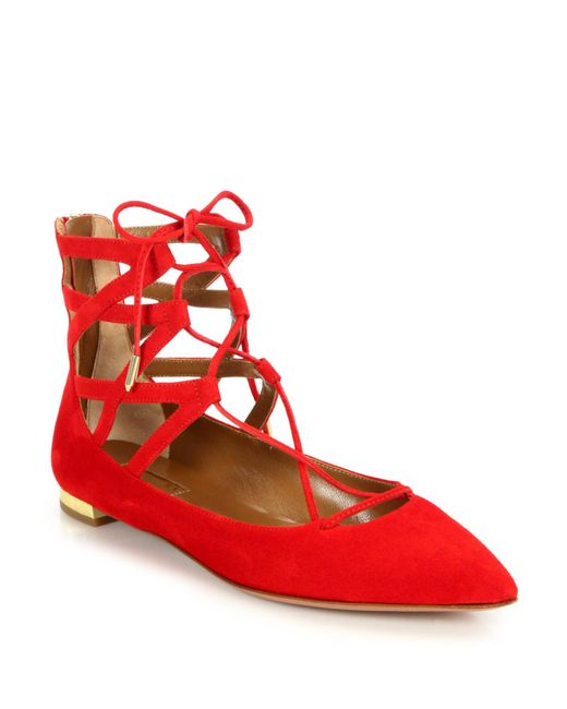 Aquazzura | Red Belgravia Suede Point-toe Lace-up Flats | Lyst