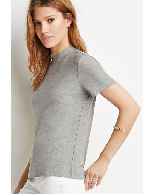 Forever 21 | Gray Contemporary Mock-neck Top | Lyst