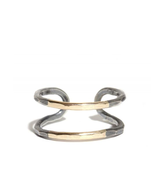 Melissa Joy Manning | Metallic Double Bar Married Black Oxidized Silver And Gold Ring | Lyst