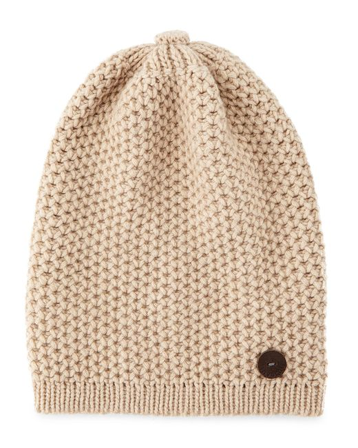 Inverni | Brown Cashmere Slouchy Hat W/button | Lyst