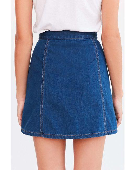 bdg denim button front skirt in blue tinted denim lyst