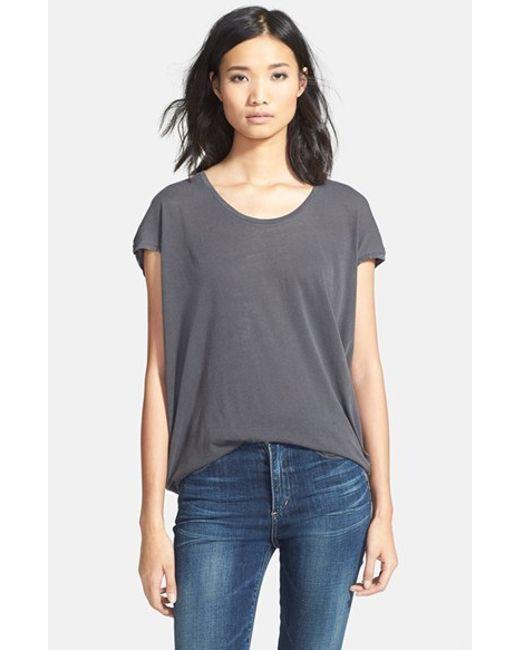 Splendid | Gray Scoop Neck Short Sleeve Top | Lyst