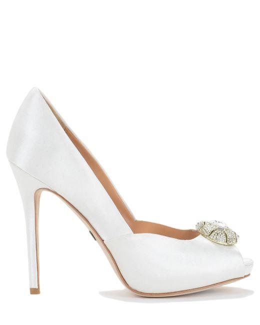 Badgley Mischka   White Pearla Embellished Satin Pumps   Lyst