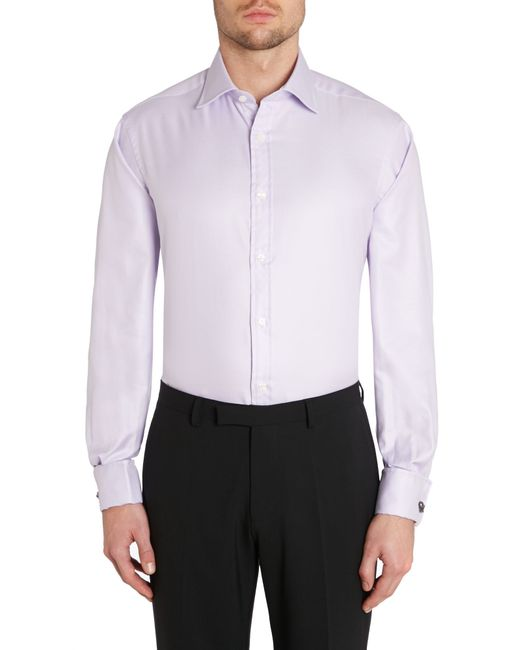 Tm Lewin Plain Classic Fit Long Sleeve Shirt In Purple For