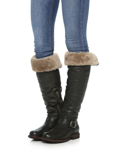 Frye Valerie Shearling Over The Knee Boots In Black Lyst