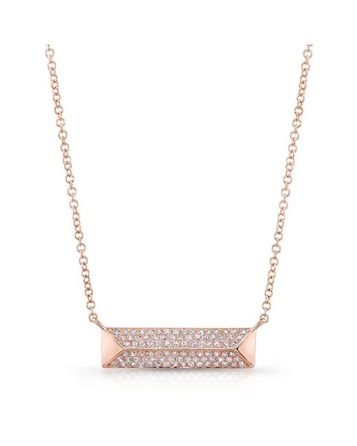 Anne Sisteron | Metallic 14kt Rose Gold Diamond Pyramid Bar Necklace | Lyst