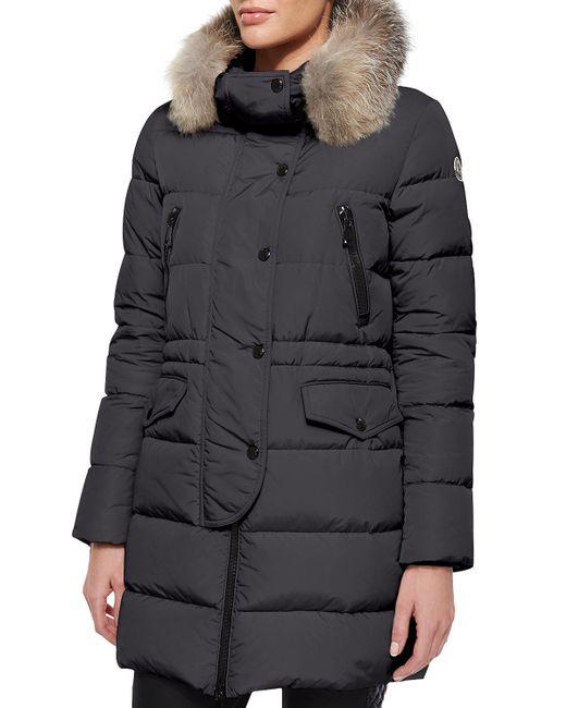 Moncler   Gray Fragonette Fur-trim Puffer Coat   Lyst