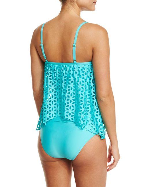 Luxe By Lisa Vogel Pandora Hipster Swim Bottom In Blue