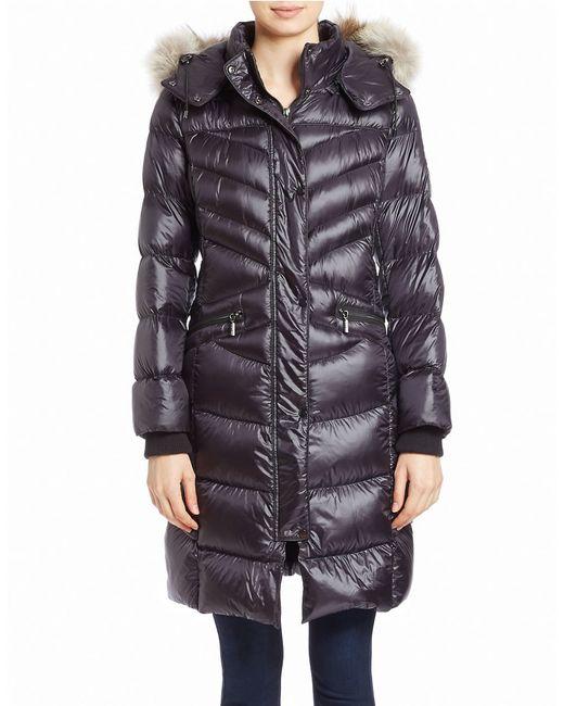 Bernardo | Blue Long Down & Primaloft Coat With Genuine Coyote Fur Trim Hood | Lyst