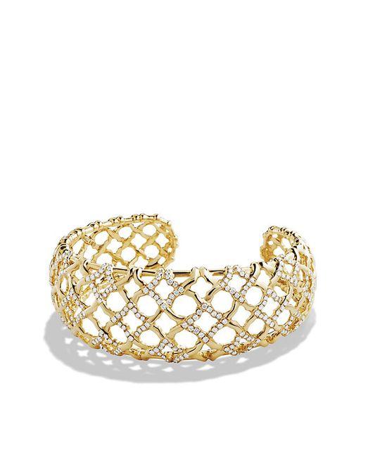 David Yurman | Metallic Venetian Quatrefoil Narrow Cuff Bracelet With Diamonds In 18k Gold | Lyst