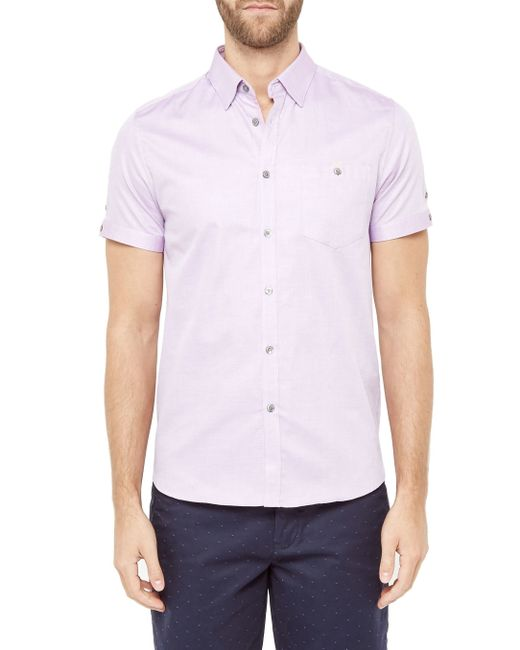 Ted baker beachee short sleeved oxford shirt in pink for for Pink oxford shirt men