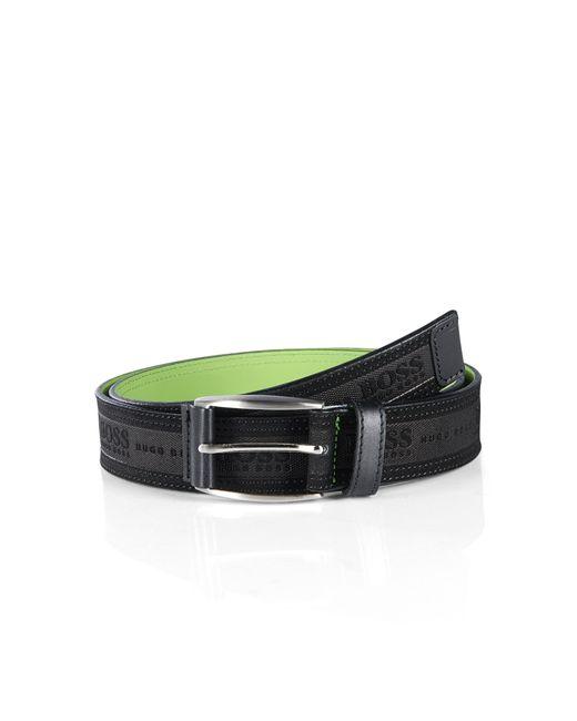 BOSS Green   Black 'testio'   Leather Embossed Logo Belt for Men   Lyst