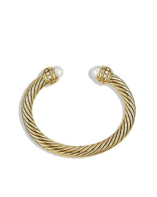 David Yurman | White Cable Classics Bracelet With Pearls And Diamonds In 18k Gold, 7mm | Lyst