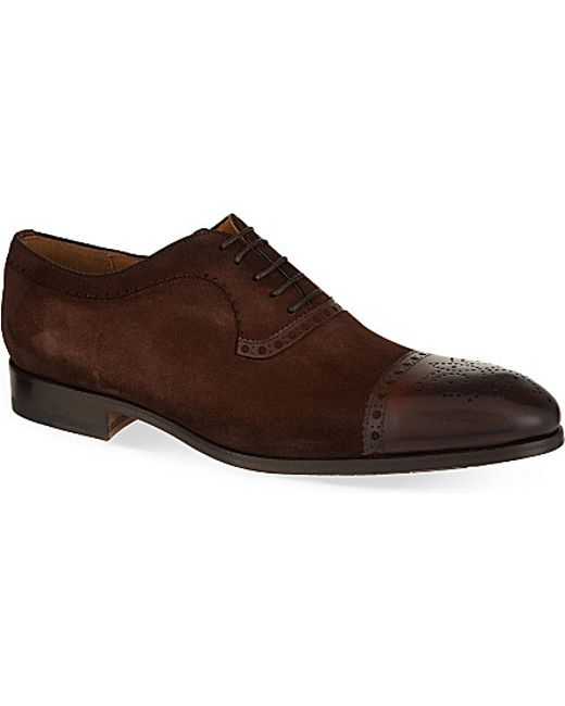 saks fifth avenue suede oxford shoes in brown for lyst