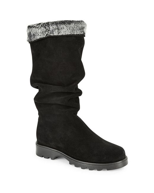 la canadienne kody shearling lined suede boots in black