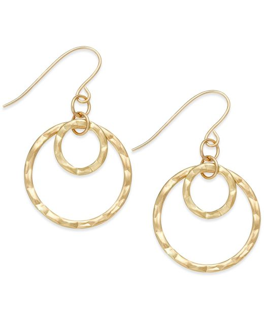Macy's | Metallic Hammered Double Hoop Earrings In 10k Gold | Lyst