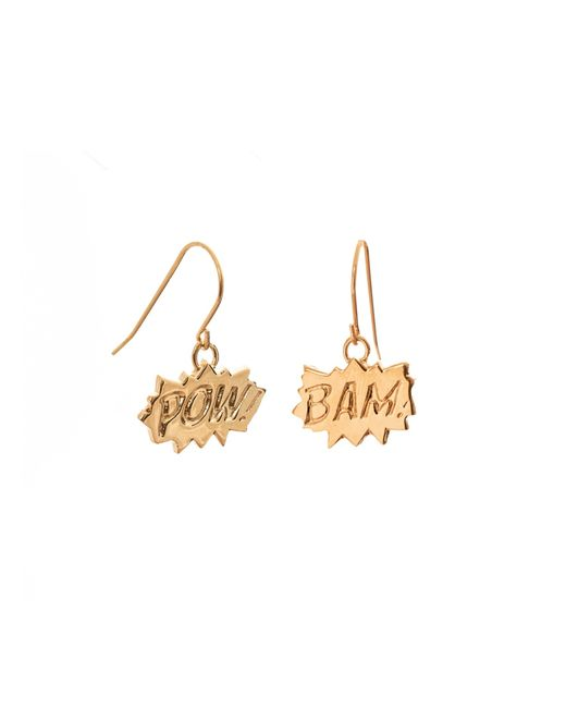 Edge Only | Metallic Pow And Bam Drop Earrings In Gold | Lyst