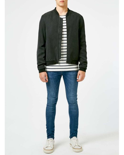 Topman off white and navy stripe premium cotton long for Blue and white striped long sleeve t shirt