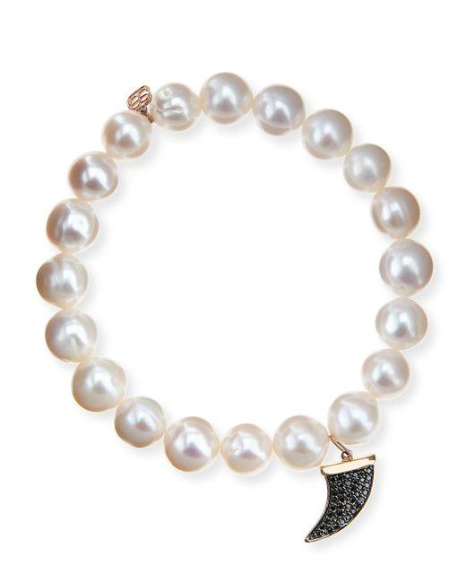 Sydney Evan | Potato Pearl White Medium Black Diamond Horn Bracelet | Lyst