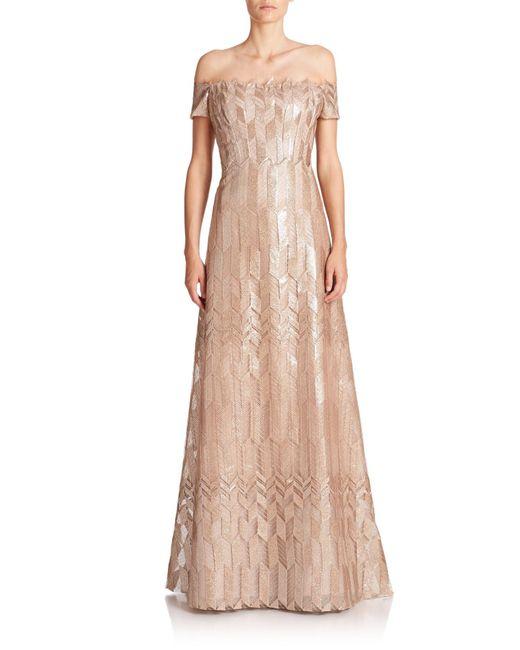Rene Ruiz | Metallic Art Deco Cap-sleeved Gown | Lyst
