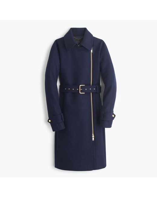 J.Crew | Blue Belted Zip Trench Coat In Wool Melton | Lyst