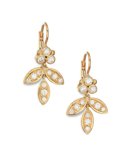 Temple St. Clair | Metallic Foglia Diamond & 18k Yellow Gold Earrings | Lyst