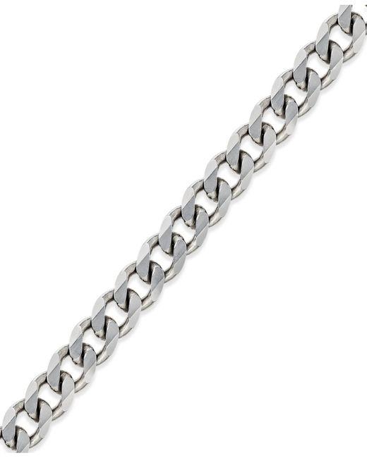 Macy's | Metallic Men's Curb Chain Bracelet In Sterling Silver for Men | Lyst
