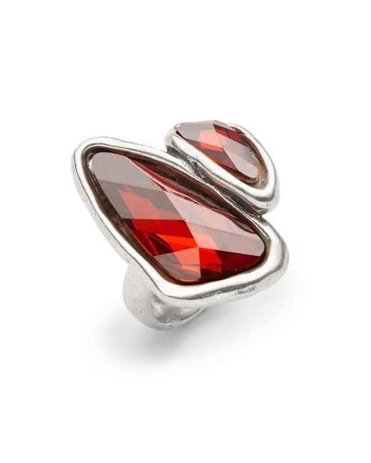 Uno De 50 Red Swarovski Crystal Two Stone Ring