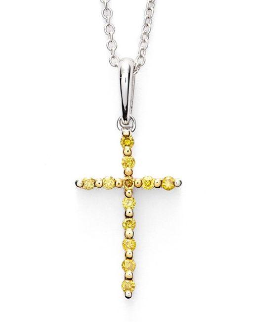 Bony Levy | Metallic Yellow Diamond Cross Pendant Necklace (limited Edition) (nordstrom Exclusive) | Lyst