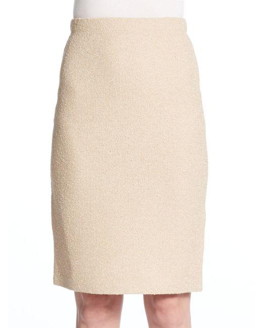 st textured wool blend pencil skirt in beige camel