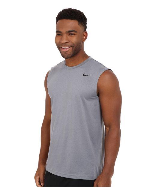Nike legend 2 0 sleeveless tee in gray for men lyst for Nike men s pro cool sleeveless shirt