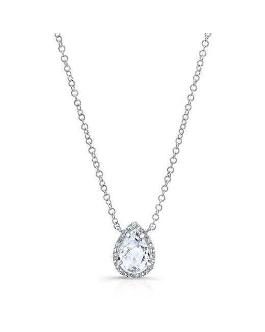 Anne Sisteron | Metallic 14kt White Gold Pear White Topaz Diamond Necklace | Lyst