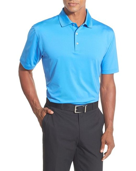 Peter millar stretch jersey golf polo in blue for men for Peter millar women s golf shirts