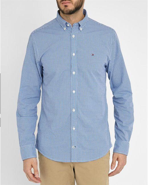 Tommy Hilfiger Blue Poplin Gingham Shirt In Blue For Men