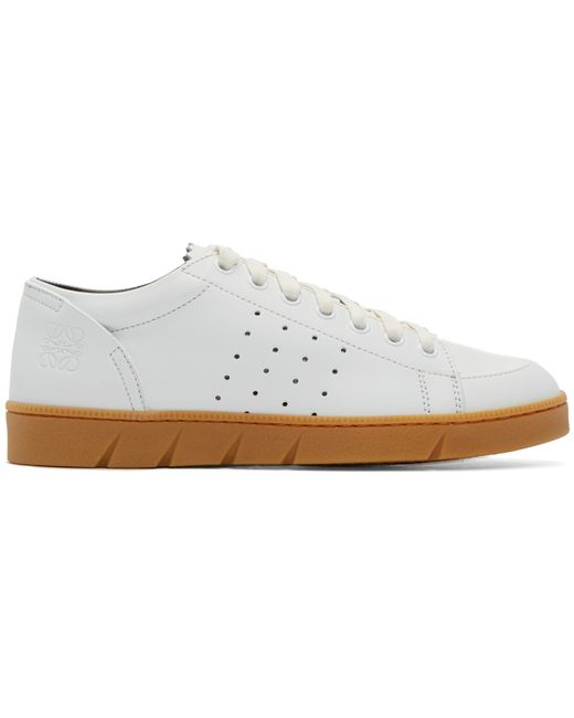 Loewe   White Leather Low-Top Sneakers   Lyst