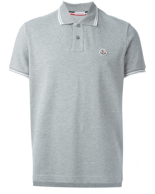 moncler classic polo shirt in gray for men grey lyst. Black Bedroom Furniture Sets. Home Design Ideas