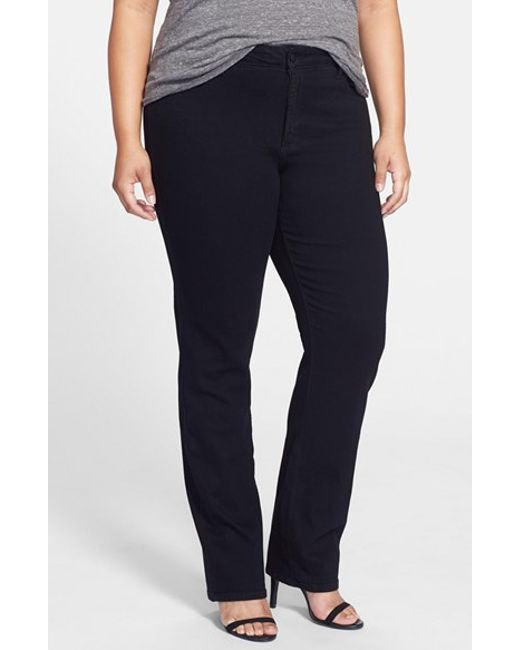NYDJ | Black 'marilyn' Stretch Straight Leg Jeans | Lyst