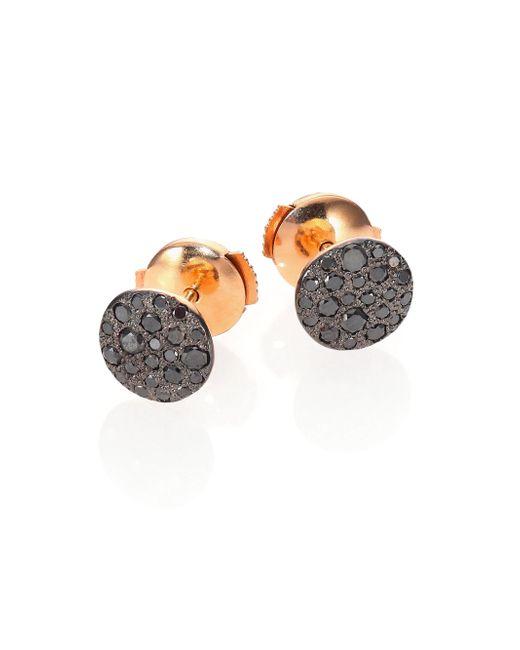 Pomellato | Gray Sabbia Black Diamond & 18k Rose Gold Stud Earrings | Lyst