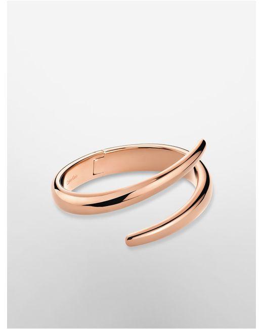 Calvin Klein | Pink Platinum Wrap Rose Gold Bangle | Lyst